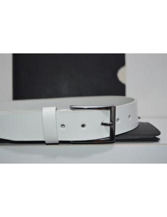 30mm Beyaz Deri Kemer