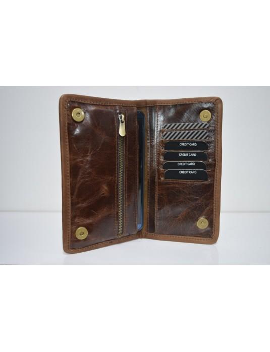 Antik Telefon Bölmeli Deri Cüzdan