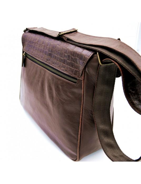 PHİLİP Örgü Kahverengi Askılı Hakiki Deri Postacı Çantası