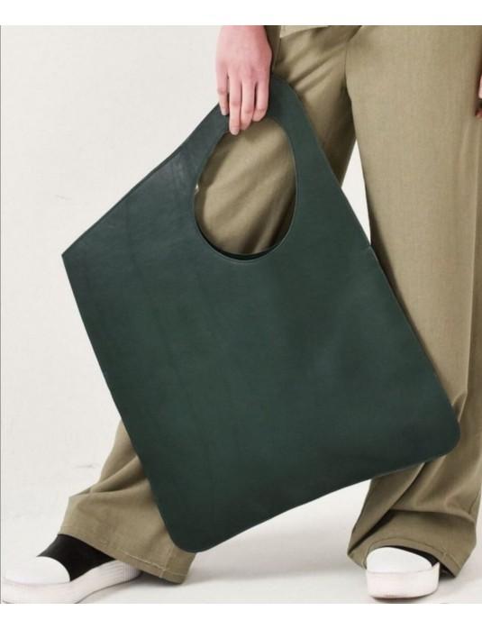 ASİMETRİK Model Ördek Yeşili Hakiki Deri  El Portföy Clutch