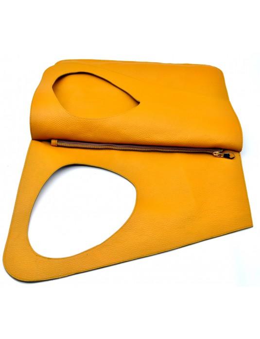ASİMETRİK Model Sarı Hakiki Deri  El Portföy Clutch