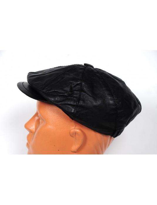 Şık Erkek Hakiki Deri Ayarlı Kasket Şapka