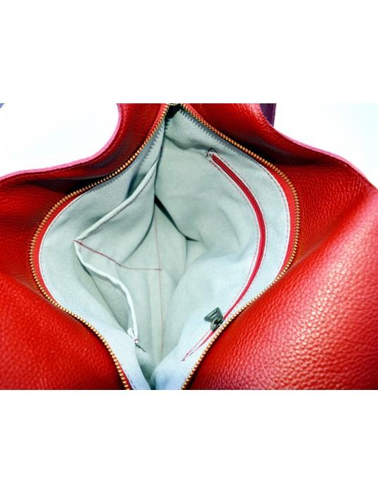 ASİMETRİK Model Kırmızı Hakiki Deri  El Portföy Clutch